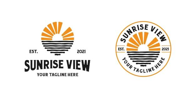 Inspirationsvorlage für das logodesign mit sonnenaufgang