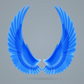 Inspirierende flügel blaue farbe getrennt gezeichnet auf einem grauen hintergrund