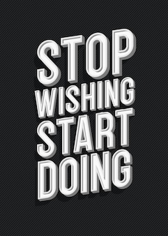 Inspirierende kreative motivation zitat plakat trendige typografie mit zeichen