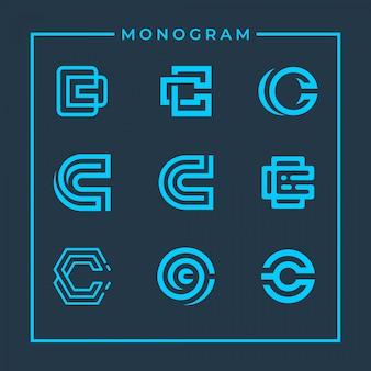 Inspirierende monogrammbuchstabe c design