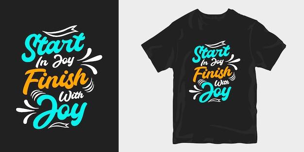 Inspirierende slogan-zitate, die t-shirt-merchandising-design sagen