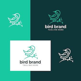 Inspirierende vogel- und baumdesign-logos