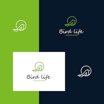 Inspirierende vogellogodesigns mit einfachen umrissstilen