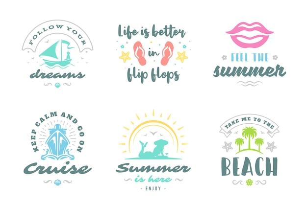 Inspirierende zitate oder sprücheentwürfe der sommerferien-typografie