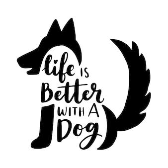 Inspirierende zitate über hunde und haustiere. handgeschriebene sätze.
