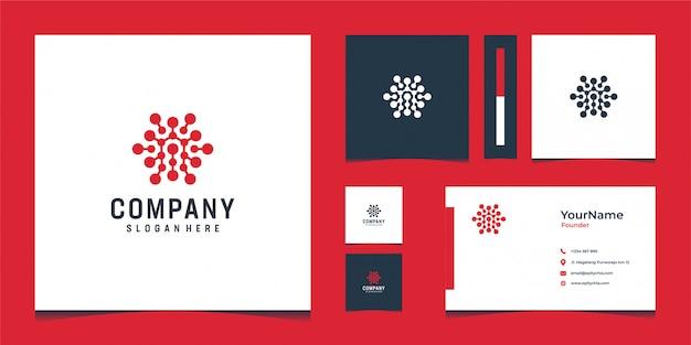Inspirierender roter logoentwurf mit visitenkarte