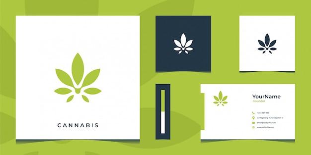 Inspirierendes grünes cannabis-logo und visitenkarte