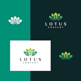 Inspirierendes logo aus blättern, blüten, lotus, schlicht und elegant