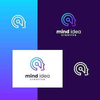 Inspirierendes logo für geist, gehirn, innovative, menschen mit einfachen linienarten