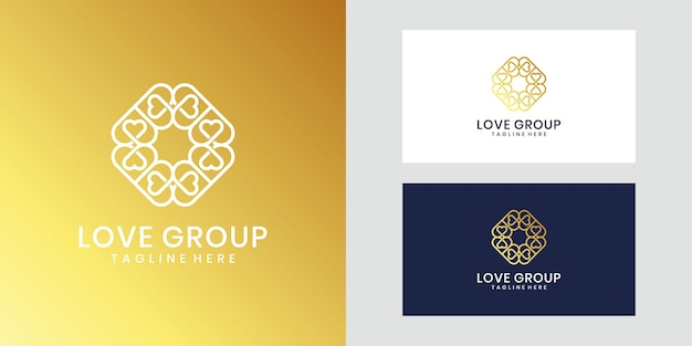 Inspirierendes luxus-liebesgruppen-logo-design