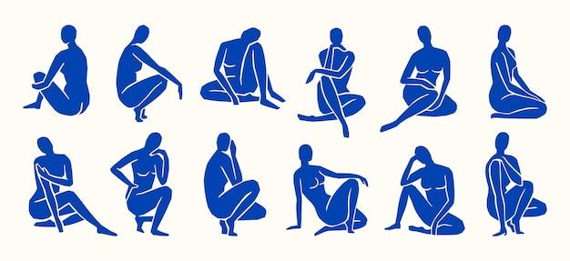 Inspiriert von matisse, damenfiguren in verschiedenen posen im trendigen minimalistischen stil. vektorgrafiken collage von frauenkörpern aus geschnittenem papier zum erstellen von logos, mustern, postern, covern und postkarten