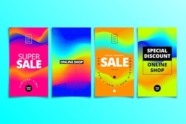 Insta-story-kollektion mit farbverlauf