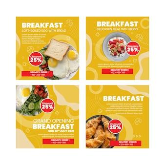 Instagram-beiträge des frühstücksrestaurants