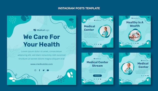 Instagram-beiträge für die medizinische versorgung im flachen design
