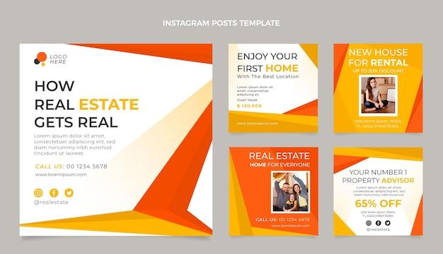 Instagram-beiträge für flaches design-immobilien