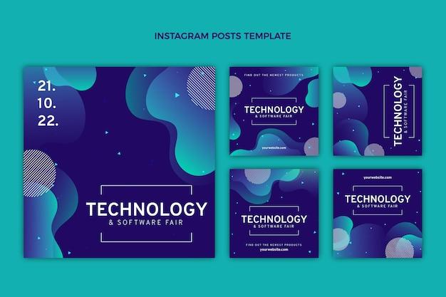 Instagram-beiträge mit abstrakter fluidtechnologie mit farbverlauf