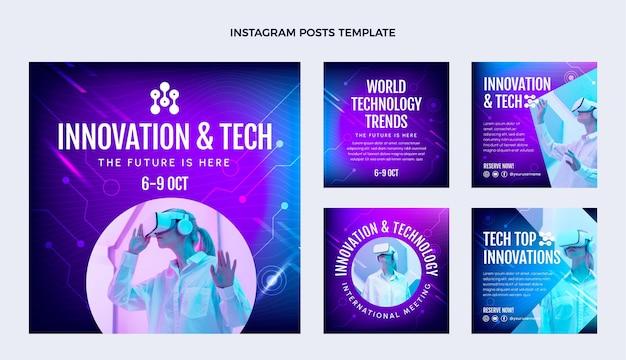 Instagram-beiträge mit abstrakter technologie mit farbverlauf
