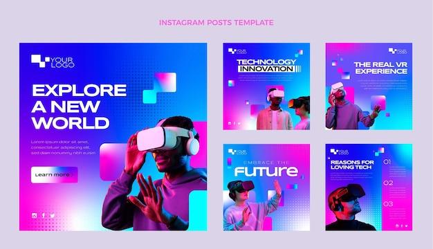 Instagram-beiträge mit farbverlaufshalbtontechnologie