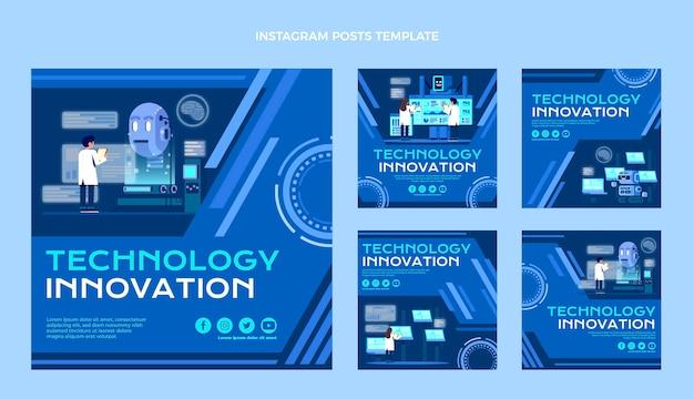 Instagram-beiträge mit flacher designtechnologie