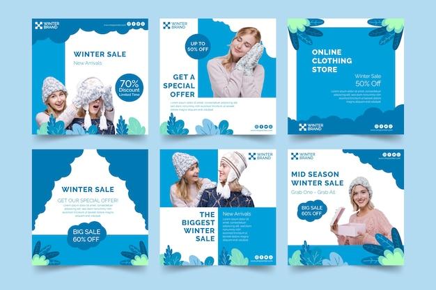 Instagram beiträge sammlung für den winterverkauf mit menschen
