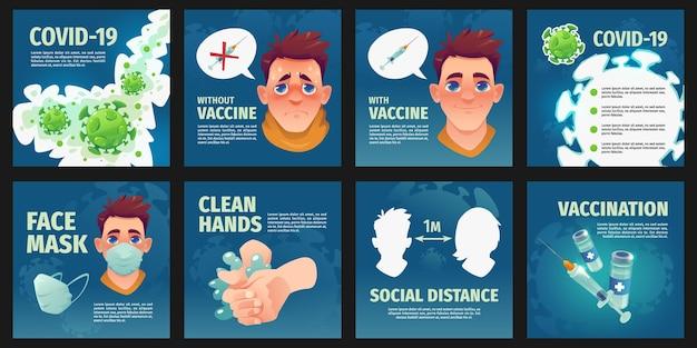 Instagram-beiträge zum coronavirus im flachen design