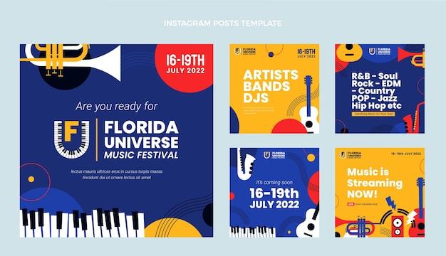 Instagram-beiträge zum minimalen musikfestival im flachen design