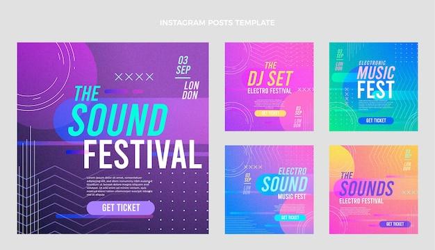 Instagram-beiträge zum musikfestival mit farbverlauf