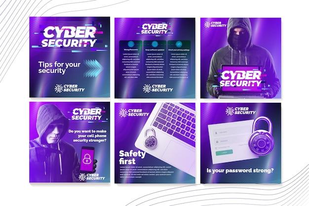 Instagram-beiträge zur cybersicherheit Kostenlosen Vektoren