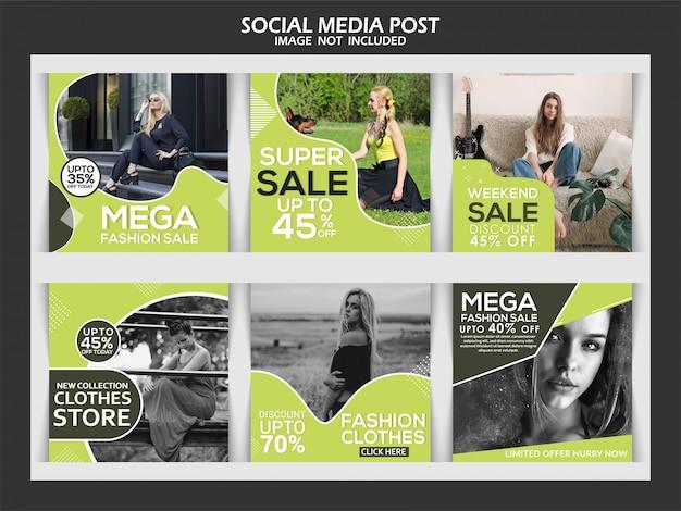 Instagram-beitragsschablone oder quadratische fahne, modesocial media-prämienbeitrag