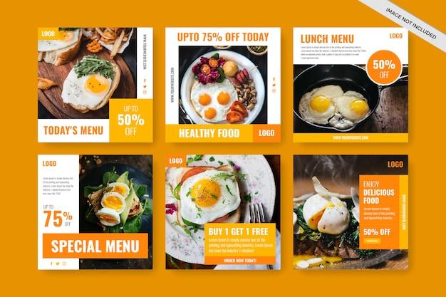 Instagram-beitragsvorlage oder quadratischer flyer für restaurants
