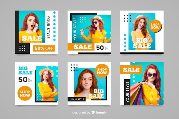 Instagram-beitragszusammenfassungs-modeverkaufssatz
