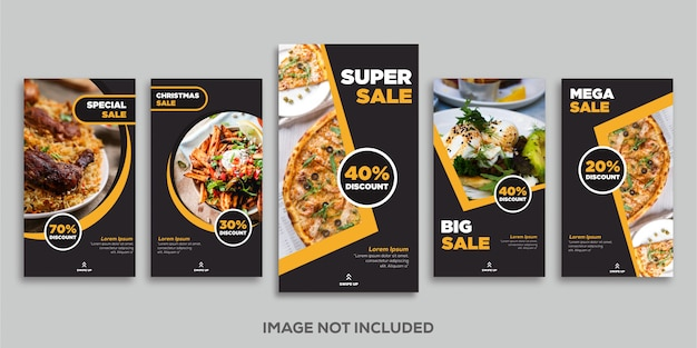 Instagram-feed beitragsvorlage social media food luxury gold stories