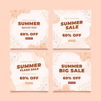 Instagram-feed-vorlage für das sommerverkaufsbanner