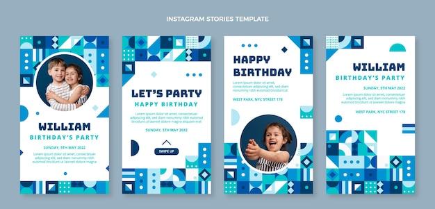 Instagram-geburtstagsgeschichten mit flachem design-mosaik