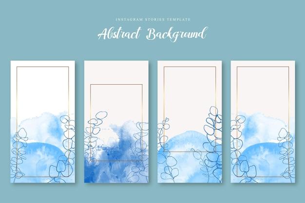 Instagram geschichte blau aquarell abstrakte vorlage