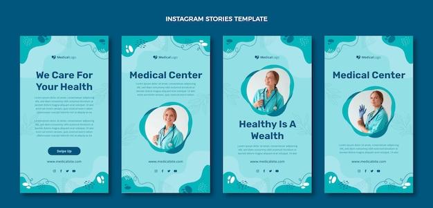 Instagram-geschichten für das krankenhaus im flachen design