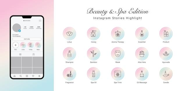 Instagram-geschichten heben das cover für beauty und spa hervor
