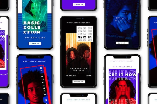 Instagram-geschichten in kräftigen farben