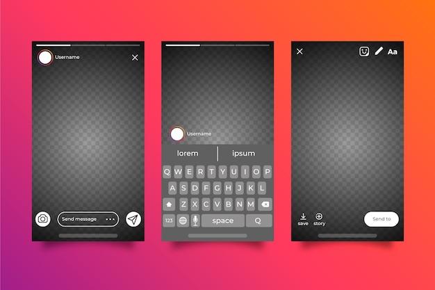 Instagram geschichten interface template design