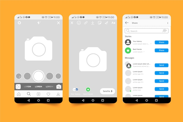 Instagram geschichten interface template-konzept