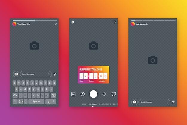 Instagram geschichten interface-vorlage