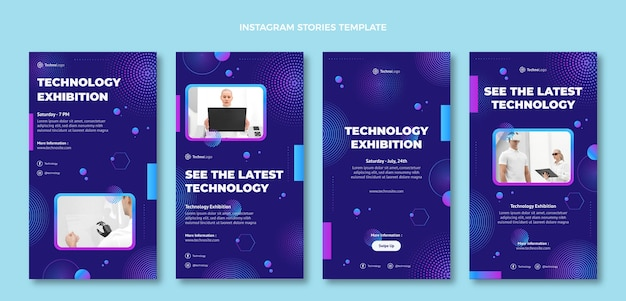 Instagram-geschichten mit farbverlaufshalbtontechnologie