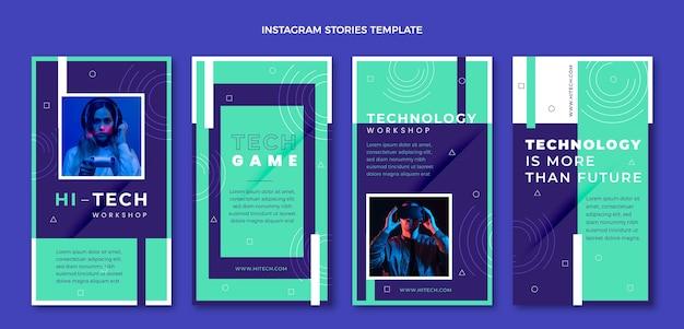 Instagram-geschichten mit flacher designtechnologie