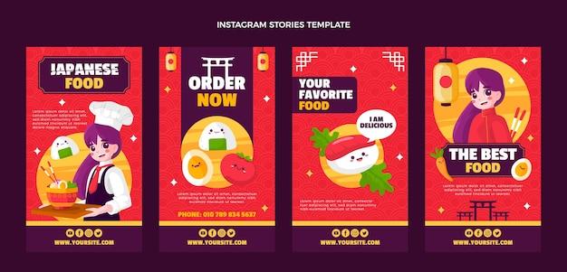 Instagram-geschichten mit japanischem essen im flachen design