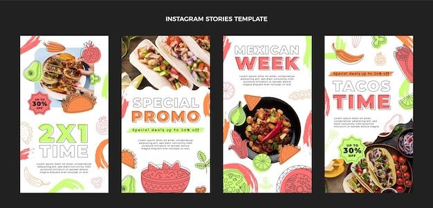 Instagram-geschichten mit mexikanischem essen im flachen design