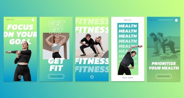 Instagram-geschichten-sammlung für gesundheit und fitness mit farbverlauf mit foto