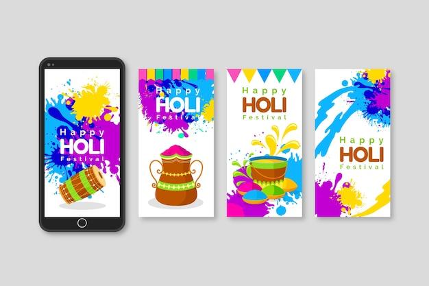 Instagram geschichten sammlung für holi festival