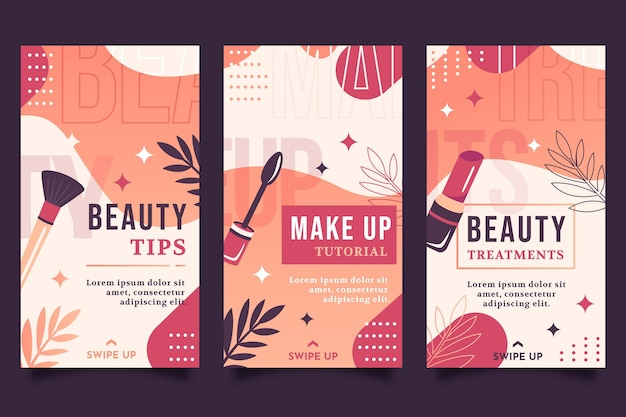 Instagram-geschichten-sammlung für schönheit mit farbverlauf
