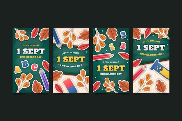 Instagram-geschichten-sammlung im papierstil vom 1. september