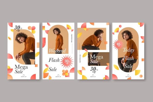 Instagram-geschichten-sammlung mit farbverlaufsmosaik mit foto